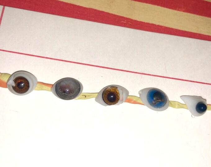 5pcs ANTIQUE GLASS EYES 1890s Damaged Glass Doll Eyes Freak Specimens Small Broken Miniature Eyes Handblown Irises German Excavation Lot C