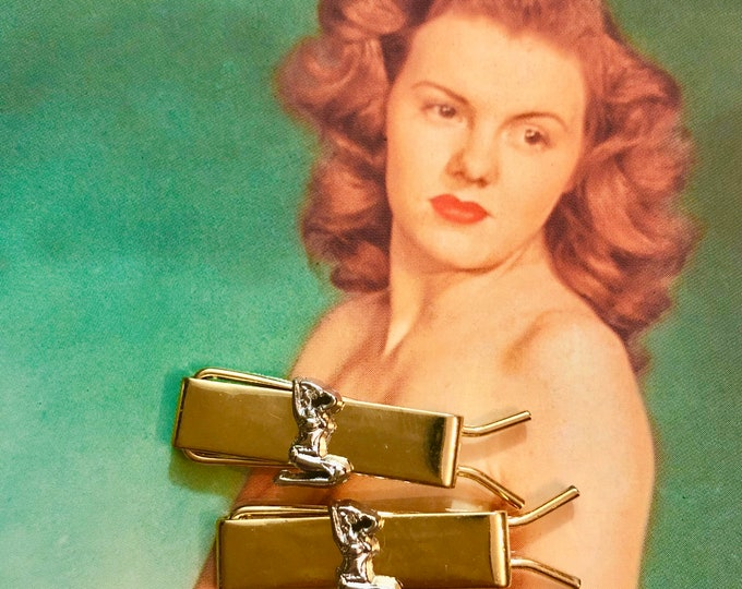 1pr RISQUE LADY BARRETTES Vintage Hair Clips Small Golden Metal Accessories With Tiny Mud Flap Girls