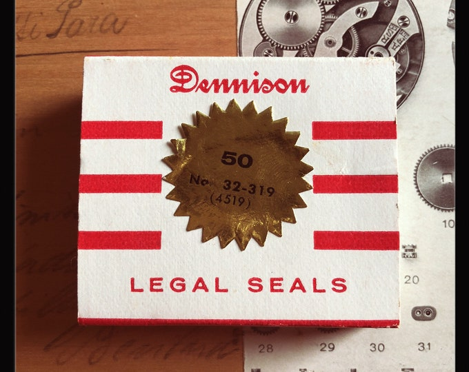 1pkg VINTAGE DENNISON SEALS Tiny Legal Notarial Gummed Gold Foil Metallic Seals Original Box Notary Labels Stickers 32-319