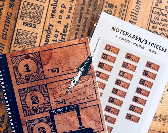 31pcs AGED NUMBER TICKETS Vintage Style Notepaper