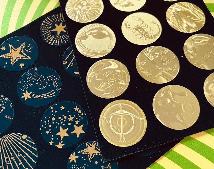48pcs HOLOGRAPHIC ZODIAC STICKERS Vinyl Metallic Celestial Sun + Moon Horoscope Label Ephemera Astrology Supplies Junk Journal Lot