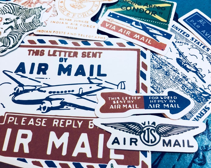 25pcs VINTAGE AIRMAIL STICKERS Domestic and International Mail Labels All Different Wide Variety Lots of Sizes Amazing Collection