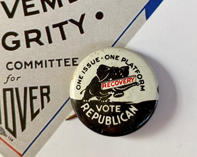 1932 POLITICAL CAMPAIGN BUTTON Herbert Hoover Tin Litho Vintage 1970s Repro Pin Back