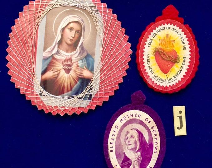 3pcs VINTAGE RELIGIOUS LOT Nun Handiwork Immaculate Heart Blessed Mother Badge Scapular Apostleship of Prayer Catholic Lot J