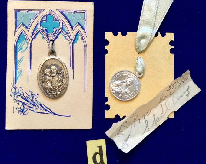2pcs VINTAGE RELIGIOUS LOT Precious Keepsakes Estate Find St. Theresa Medallions St. Joseph Medal Catholic School Prizes Spelling Lot C