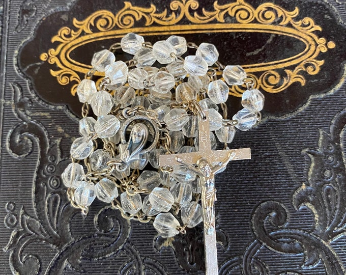 VINTAGE GLASS ROSARY Faceted Clear Beads Catholic Devotional Italy Complete 16""