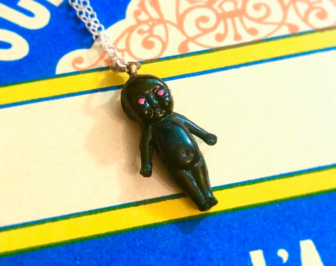 VINTAGE KEWPIE CHARM Miniature Doll Pendant Necklace Rare Celluloid Trinket Metaphysical Curio Mysticism Amulet + Chain