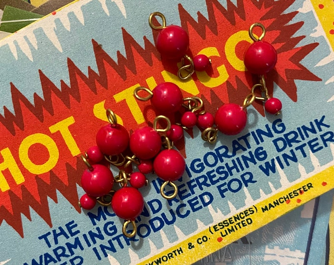 10pcs VINTAGE BEAD DROPS Double Cherry Red Early Plastic Charms Pendants Jewelry Supply Old Garment District Stock Made in Japan
