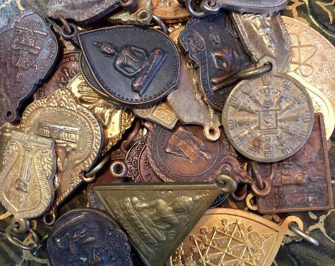 3pcs VINTAGE THAI MEDALLIONS Religious Medals Deity Buddha Buddah Lucky Dip