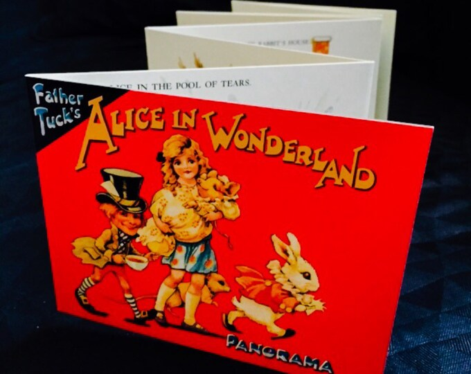 ALICE IN WONDERLAND Vintage Book Old Fashioned Panorama Style Father Tuck B. Shackman Vibrant + Lovely Illustrations