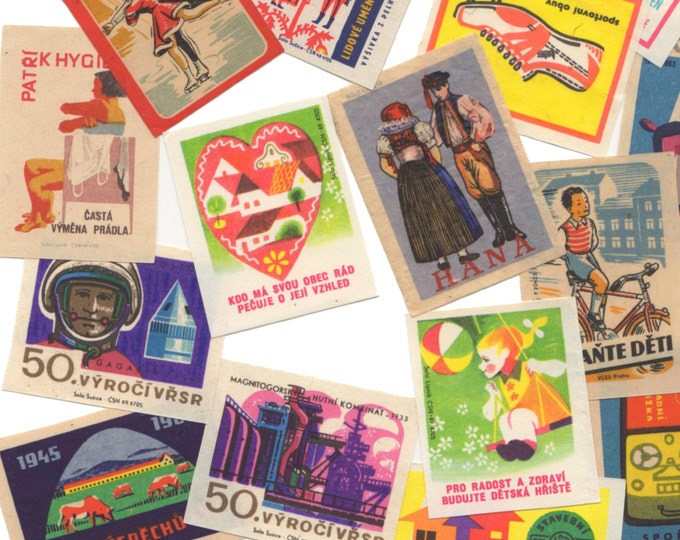 25pcs CZECH MATCH LABELS Vintage 1950s-1970s Colorful Amazing Graphics Paper  Ephemera Bulk