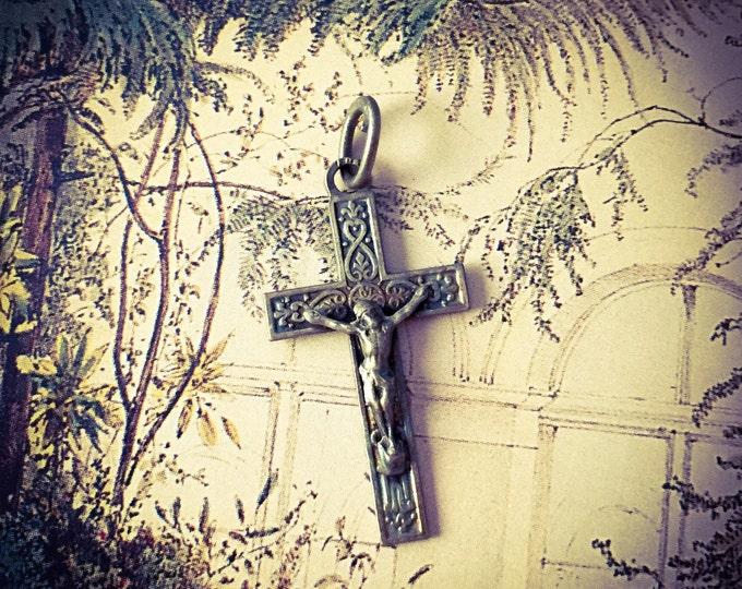 VINTAGE LOURDES SOUVENIR Miniature Old Sterling Crucifix Antique Lourdes Souvenir Silver Lourdes Cross Tiny Crucifix
