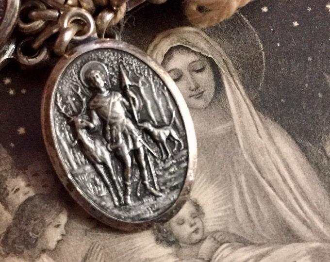 SAINT HUBERT MEDAL Vintage Religious Saint Roch Italy