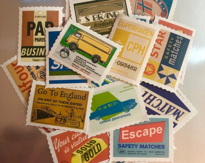 20+pcs EURO STAMP STICKERS Vintage Style Match Box Tobacianna Ephemera Pack Scrapbooking Mail Art Labels Lot