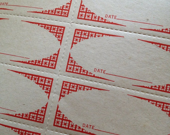20pcs VINTAGE CANNING LABELS 1950s Date Paper Ephemera Gummed Stickers