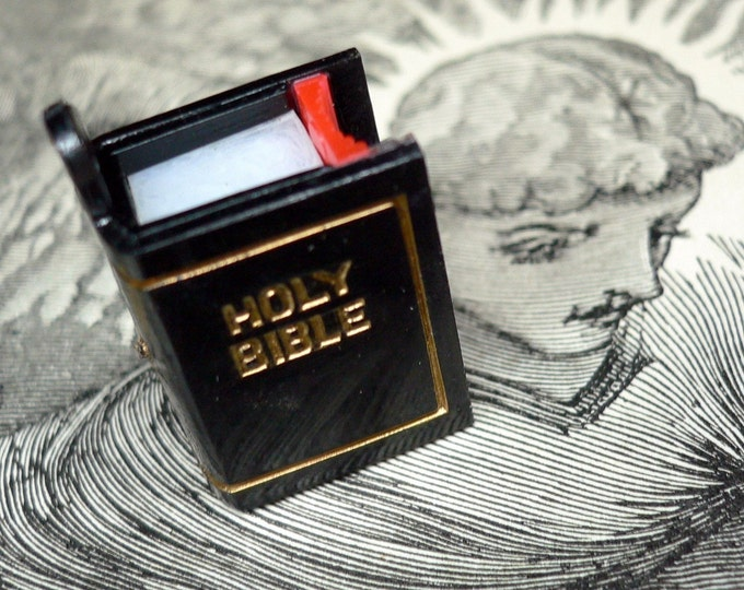 STANHOPE BIBLE CHARM Vintage Religious The Lord's Prayer Inside