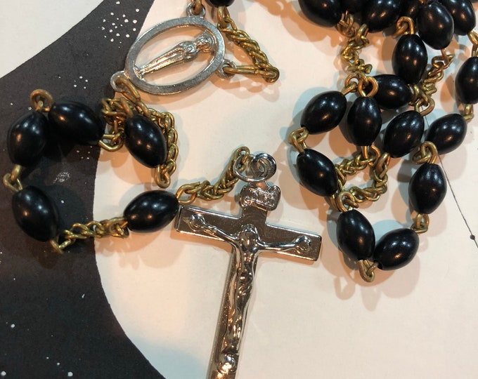 """VINTAGE LONG ROSARY Black Plastic Beads Gold & Silver Mystery Metal Centerpiece Crucifix Handmade Non-Traditional Old Rosaries 40"""""""