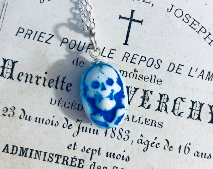MOMENTO MORI NECKLACE Vintage Czech Skull Charm On Thin Silver Chain Delicate Spiritual Jewelry White 22""