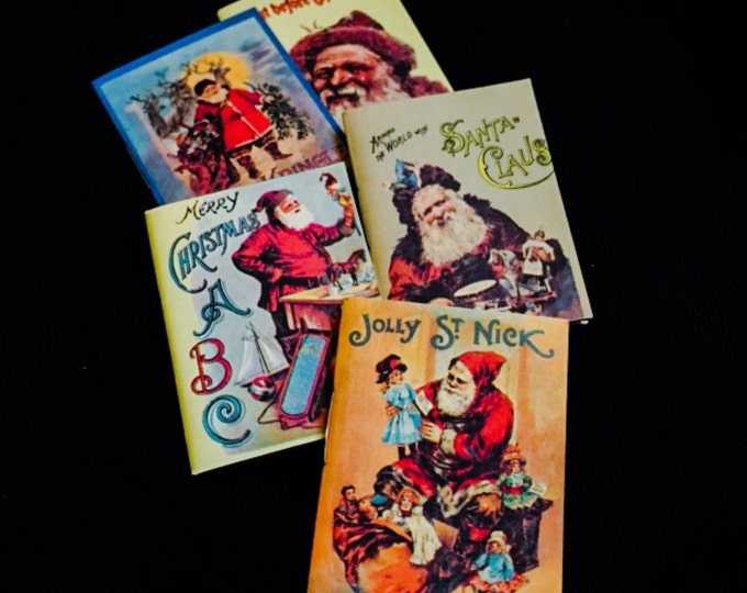 5pcs MINIATURE CHRISTMAS BOOKS Vintage Style Antique Repro