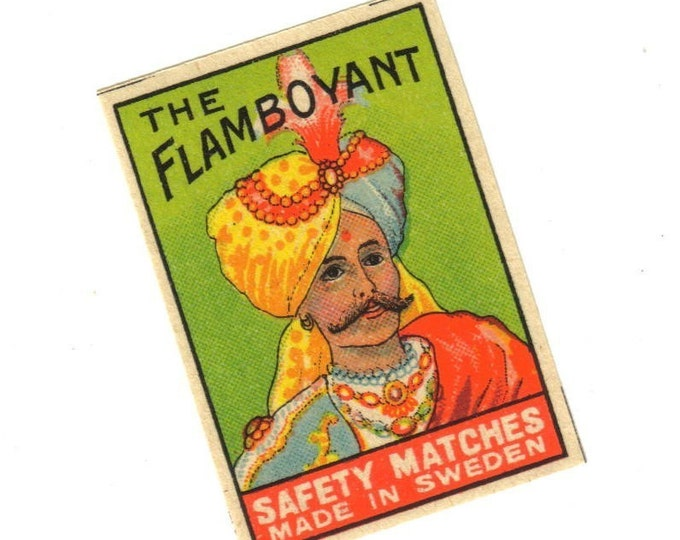 Antique 1910s THE FLAMBOYANT Match Label