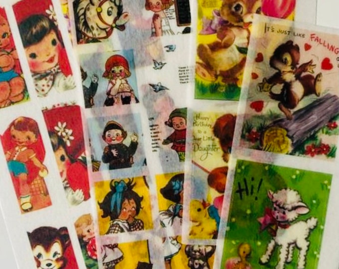 31pcs VINTAGE VELLUM STICKERS Retro Style Children Book Illustrations Old Greeting Cards Paper Dolls Gift Wrap Washi Stickers Lot K