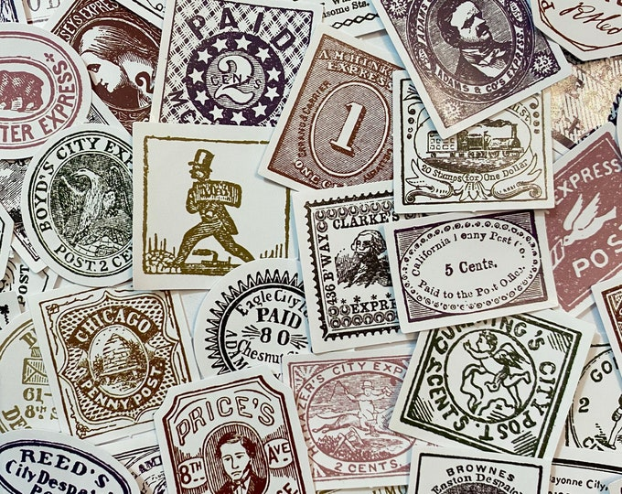 40+pcs ANTIQUE STYLE POSTAGE Stickers Vintage Reproduction Design Postage Ephemera Pack Scrapbooking Mail Art Labels Lot
