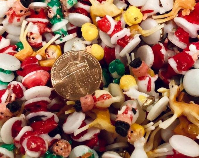 10pcs TINY CHRISTMAS FIGURES 1970s Vintage Deer Pixies Angel Snowman Santa Snow Globe Diorama Ornament Crafting Miniatures Lot Beyond Small