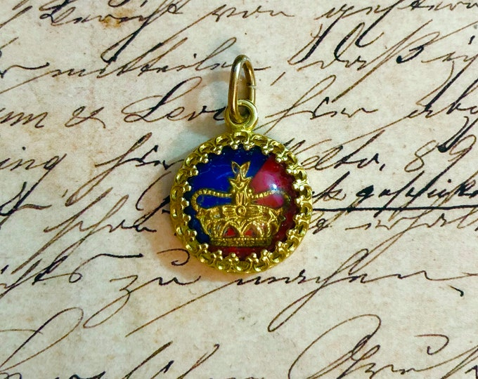 CORONATION CHARM Vintage Crown Pendant Queen Elizabeth II Painted Glass Cabochon Brass Setting British Royal Style Jewelry 14mm