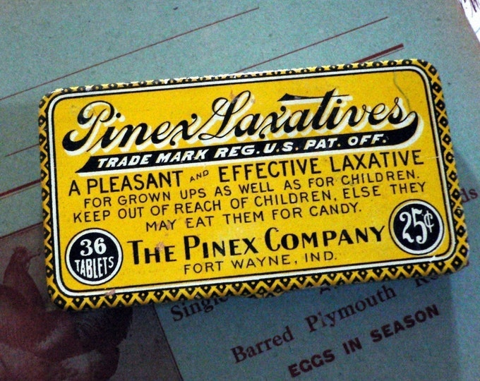 1910s Antique PINEX LAXATIVES Hinged Tin