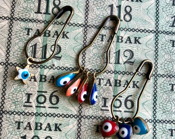 EVIL EYE CHARMS Handcrafted Metal + Enamel Tiny Evil Eyes Mini Evil Eye Pins Evil Eye Jewelry Drops Double-Sided Evil Eyes Bulk