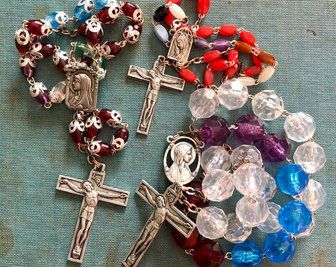 3pcs LOURDES SOUVENIR CHAPLETS Vintage Religious Beads Virgin Mary Saint Bernadette French Catholic Gifts Rosaries Lot