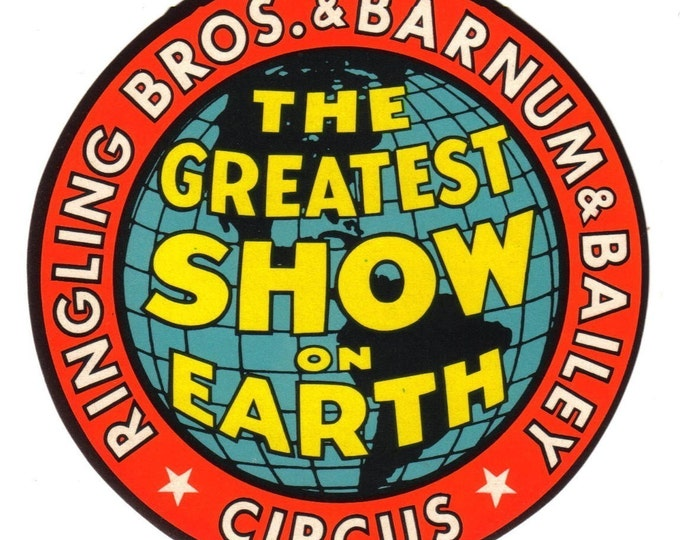 1940s Vintage RINGLING BROS. CIRCUS Greatest Show On Earth Luggage Label