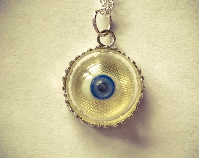 DOLL EYE NECKLACE Antique Miniature Doll Eye Under Glass Tiny Curio Charm Doll Part Charm Glass Eye Lover's Eye Jewelry Silver Chain 22""