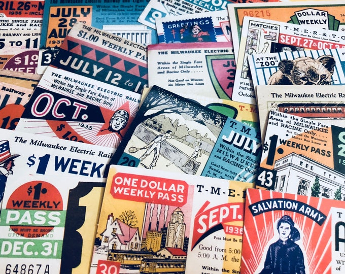 24pcs VINTAGE TICKET STICKERS Old Labels Seals Retro Graphics Paper Ephemera Lot