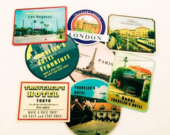 8pcs VINTAGE SUITCASE STICKERS Retro Destinations Tokyo London Hanoi Los Angeles Praha Milano Frankfurt Paris