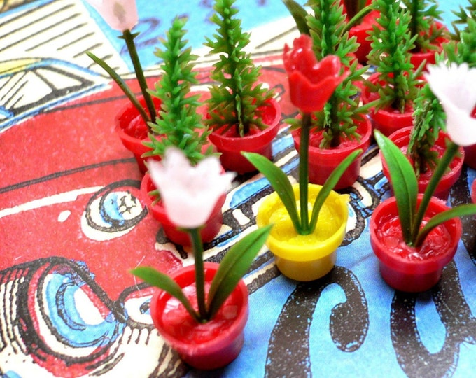 2pcs TINY POTTED PLANT Vintage Doll Decor