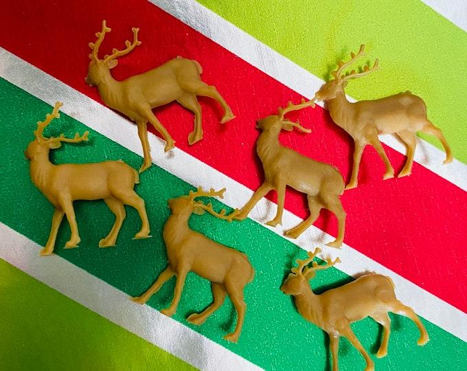 6pcs VINTAGE TINY DEER Miniature Plastic Elk European Holiday Crafting Christmas Miniatures Lot