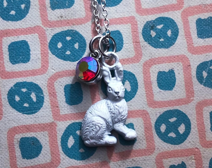 VINTAGE BUNNY NECKLACE Old Painted Metal Miniature Rabbit Charm Crystal Drop Vintage Easter Jewelry Cracker Jack Toy Silver Chain 22""