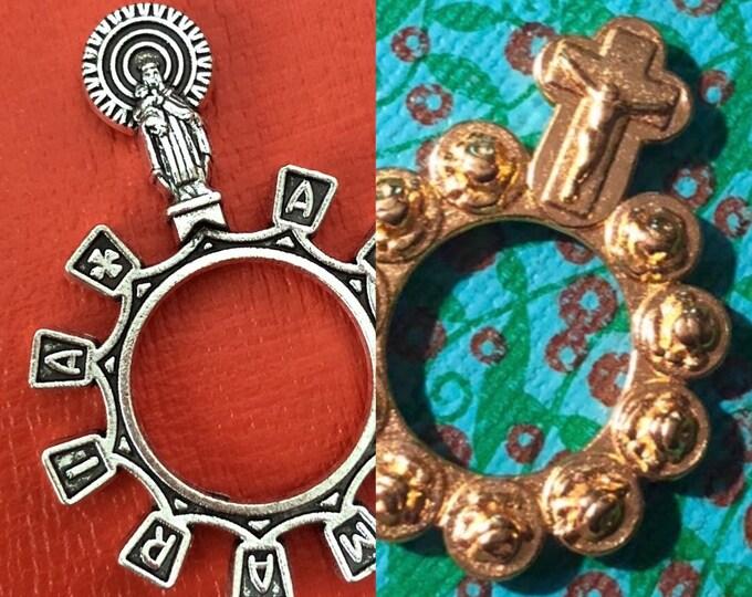 1pc METAL FINGER ROSARY Gilt Roses Ave Maria Pocket Rosary Ring Hail Mary Pocket Chaplet Prayer Devotion Religious Gift