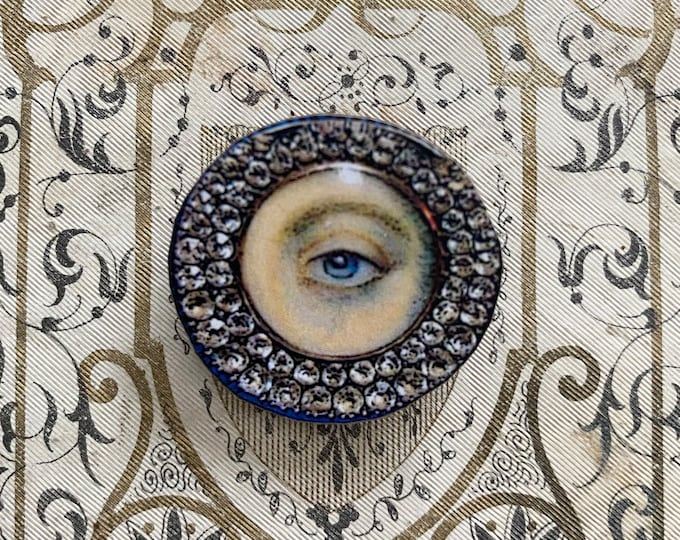 FAUX LOVER'S EYE Wooden + Papered Brooch Georgian Style Modern Remake Type Victorian Pin Costume Jewelry Repro Paste Stone Image
