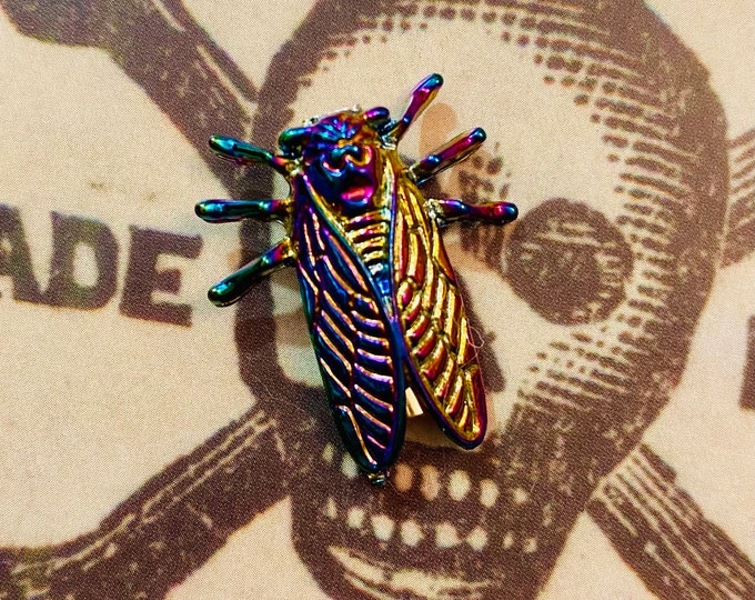 1pc RAINBOW CICADA BROOCH Small Insect Pin Iridescent Metal Brood X Cicada Year Jewelry Symbolizes Immortality + Good Luck