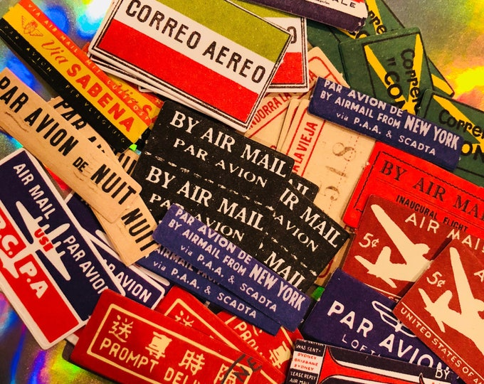 20+pcs AIR MAIL LABELS Vintage Domestic and International Mail