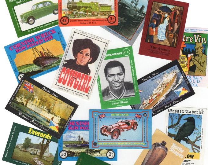 50pcs EUROPEAN MATCHBOX LABELS Vintage English Cars Boats Trains Adverts Ephemera Lot