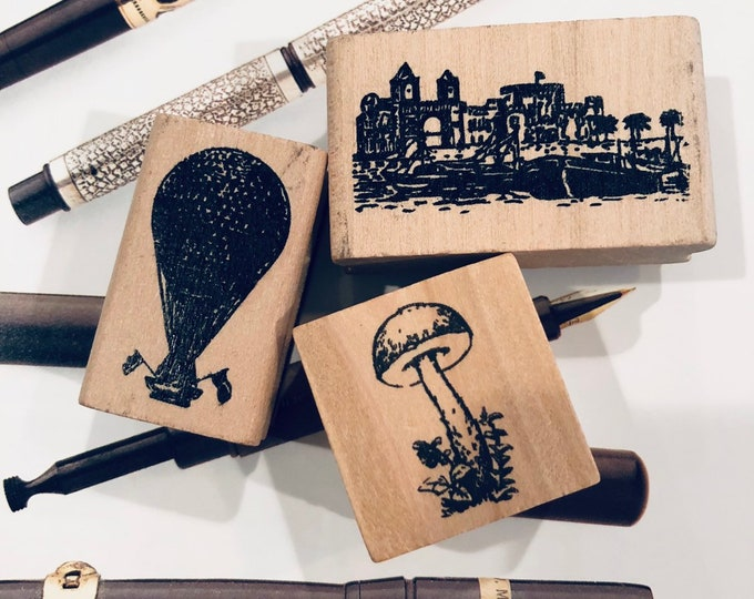 1pc CHARMING RUBBER STAMP Hot Air Balloon Portugal Scene Wild Mushroom Mail Art Snail Mail Deco Black Red Silver Gold Inks