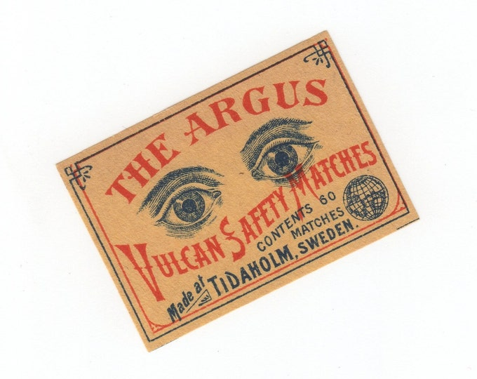 1900s Antique ARGUS EYEBALLS Matchbox Label