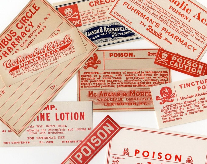 8pcs VINTAGE POISON LABELS Old School Authentic Genuine Paper Ephemera Pharmacy Stickers Medicine Seals