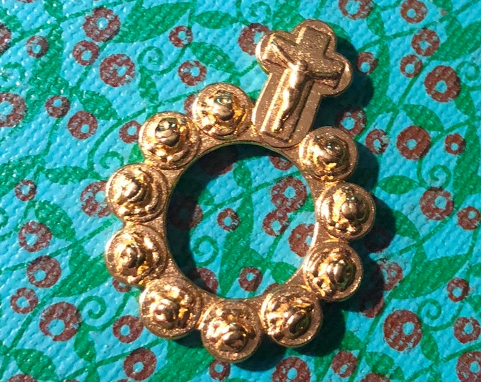 GOLDEN FINGER ROSARY Gilt Roses Pocket Rosary Ring Hail Mary Prayer Devotion Religious Gift Beautiful Token