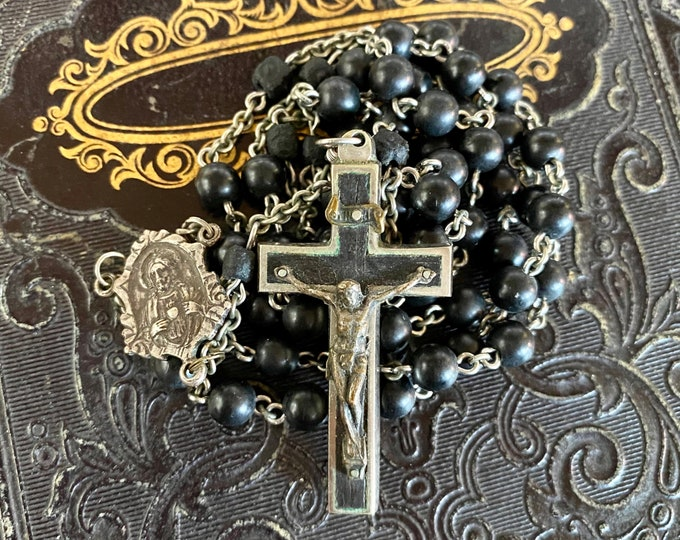 VINTAGE WOODEN ROSARY Coco Wood Beads Some Carved Sterling Center Made in Germany Catholic Devotional Complete 20""
