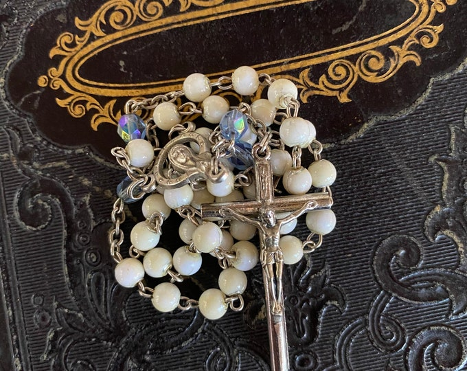VINTAGE GLASS ROSARY Pearl + Blue Beads Catholic Devotional Complete 12""