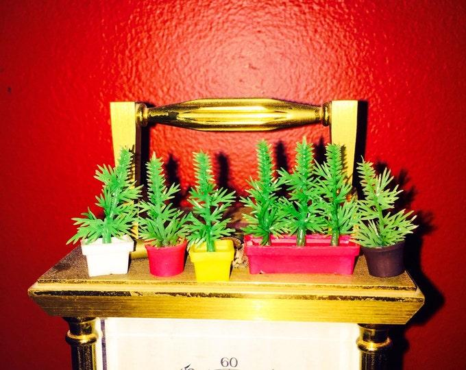 5pcs TINY PINE TREES Vintage Plastic Doll Decor